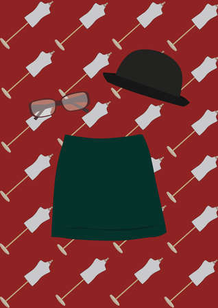 bowler hat: bowler hat, spectacles and skirt