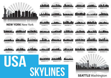 usa skylines Ilustrace