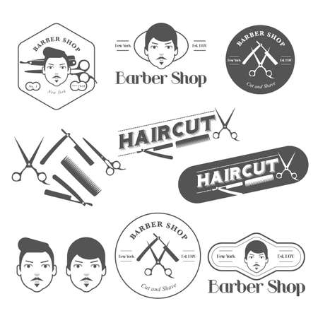 barber shop: vintage barber shop labels Illustration
