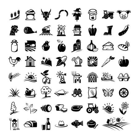 farming icons set Vectores