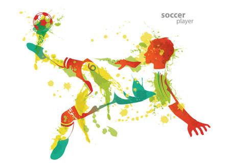 kicks: soccer player kicks a ball