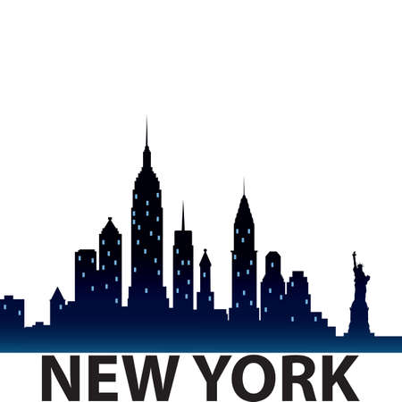 new york city skyline silhouette Illustration