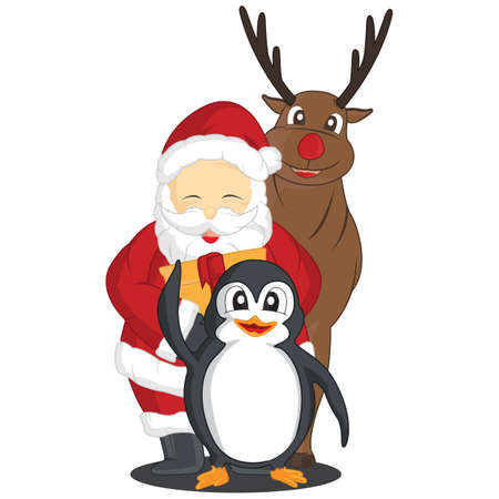 rudolph: penguin, santa claus and rudolph the reindeer Illustration