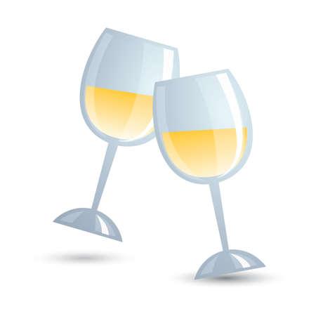 toasting wine: wine glasses Illustration