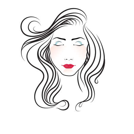 closed eyes: face of a woman with closed eyes Illustration
