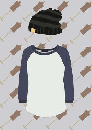 beanie: round neck t shirt and beanie Illustration