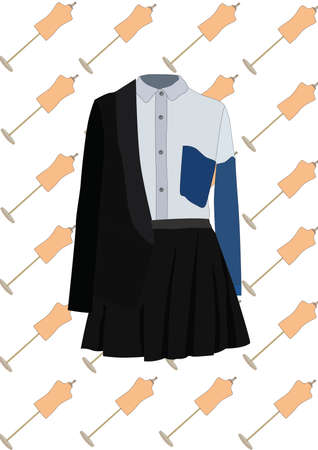 blusa: blusa y falda con chaqueta Vectores
