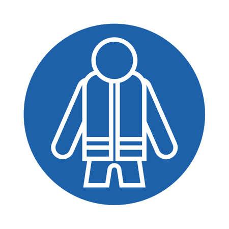 life jacket: man wearing life jacket Illustration