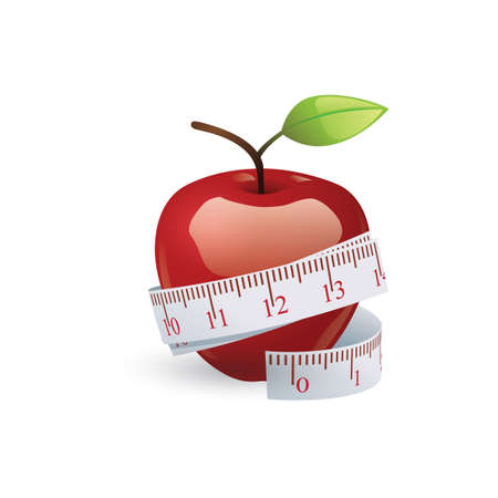measuring tape: apple with measuring tape