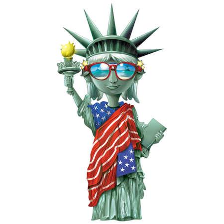 standbeeld van vrijheid dragen van een zonnebril