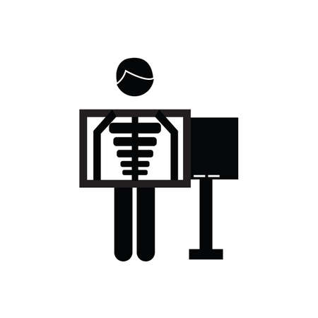 x rays: man with xray scan Illustration