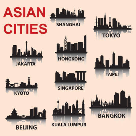 silhouette background of asian cities