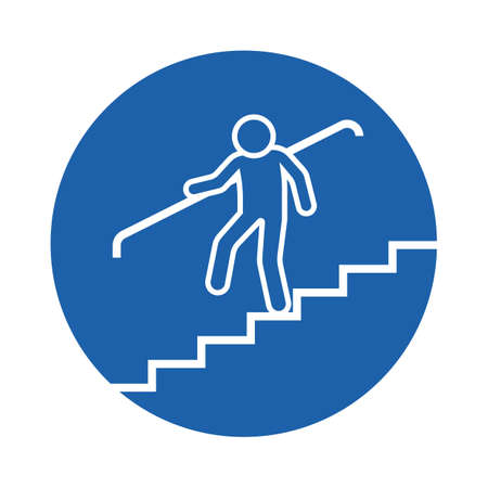 going down: person going down the stairs Illustration