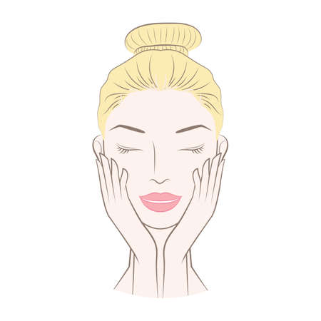 skincare facial: woman satisfied after her doing a facial Illustration