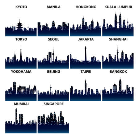 taiwan scenery: asian skyline silhouettes