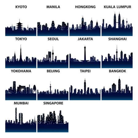 Aziatische skyline silhouetten
