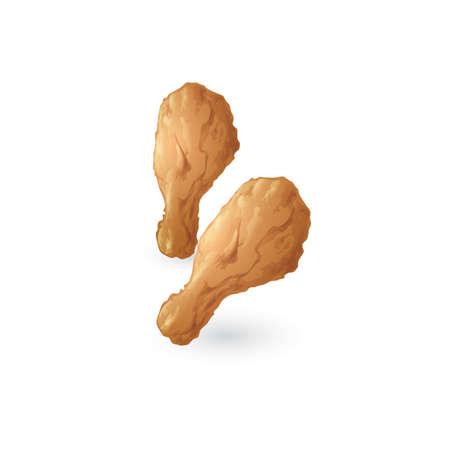 fried chicken: fried chicken drumsticks Illustration