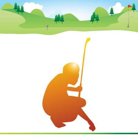 Sirva la custodia de pelota de golf en suelo