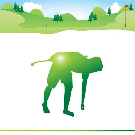 hombre de mantenimiento de la pelota de golf en suelo