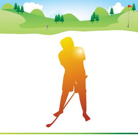hombre que sostiene el palo de golf en la mano