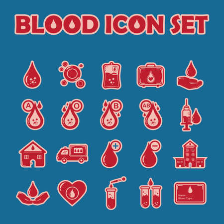 donor blood type: set of blood icons