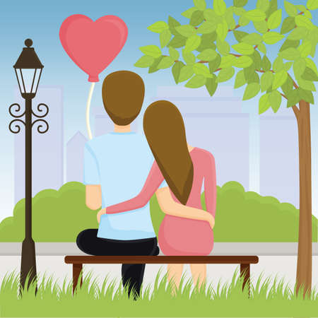couple sitting on bench and hug each other