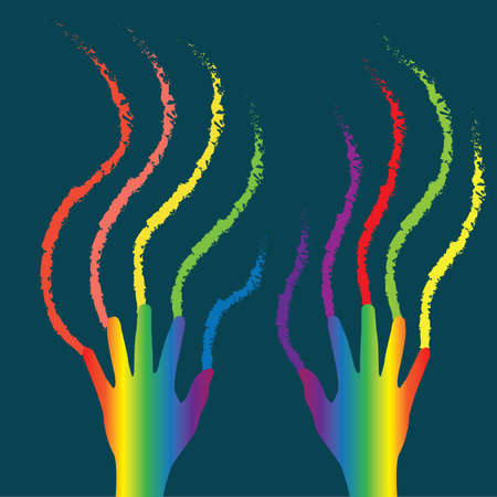 colors: hands with rainbow colors Illustration