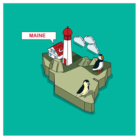 cloud capped: maine state Illustration