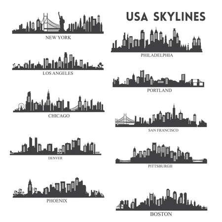 usa skyline silhouette collection