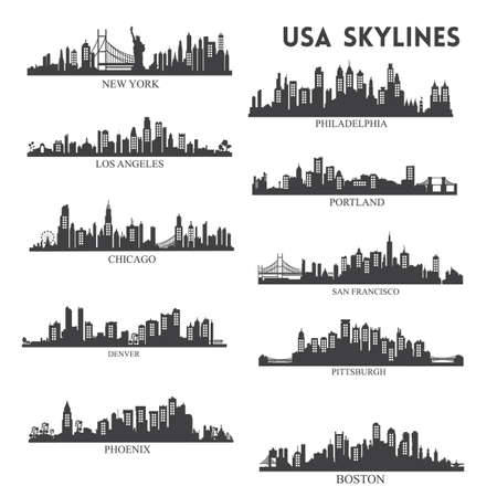 usa skyline silhouet collectie