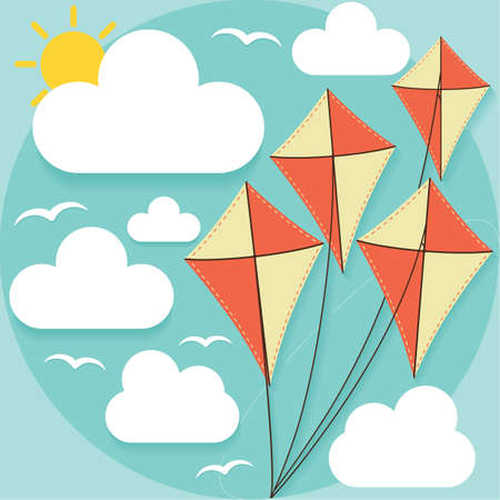 flying kites: flying kites Illustration