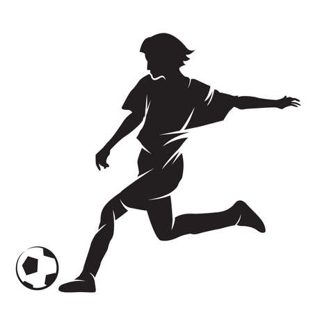 footballer: silhouette of a footballer with a ball Illustration