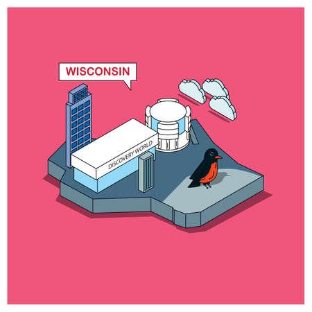 wisconsin: wisconsin state Illustration