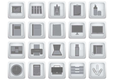 filing cabinet: set of office icons Illustration