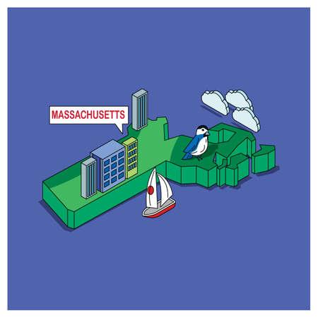 chickadee: massachusetts state Illustration