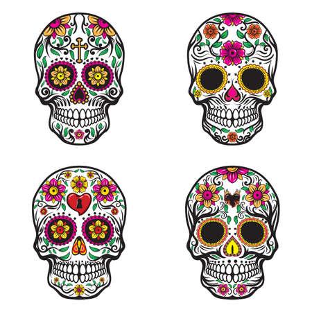 cráneo con diseños florales
