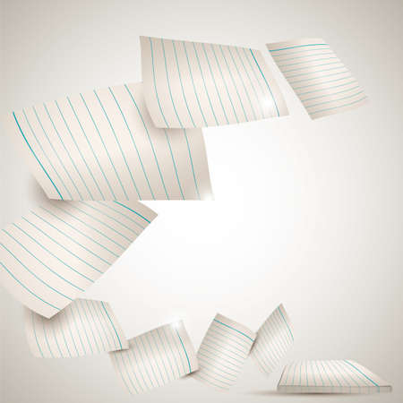 paper flying: sheets of paper flying