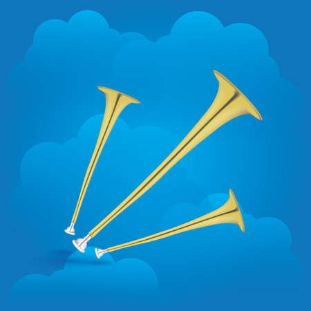 trumpets: trumpets on cloud background
