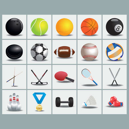 collection of sports equipment Vetores