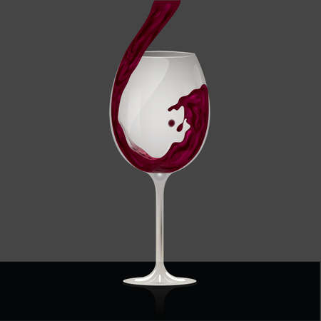 red wine pouring: red wine pouring into glass Illustration