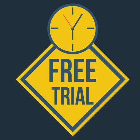 free trial: free trial label Illustration