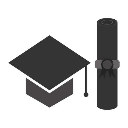 mortar board: mortar board with certificate Illustration