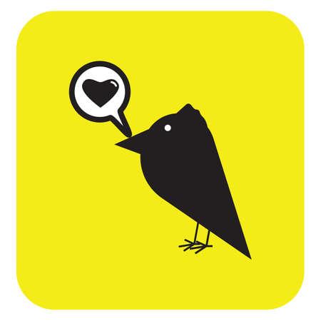 lovebird: bird and speech bubble with love