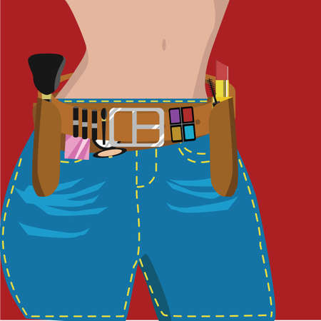 midsection: cosmetic set on belt