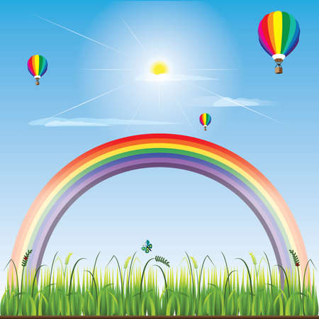 hot air: rainbow and hot air balloons