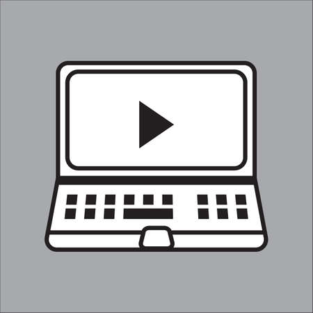 media player: laptop with media player symbol Illustration