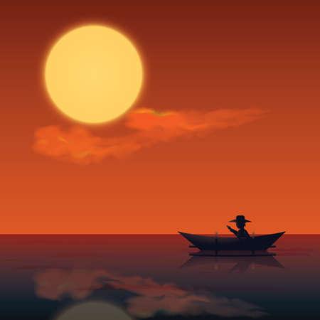 rowing boat: man rowing boat Illustration