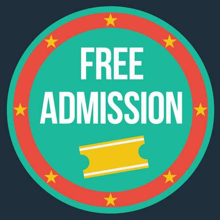 admission: free admission label Illustration