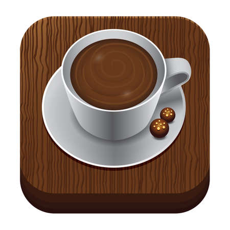a cup of coffee on wooden trencher