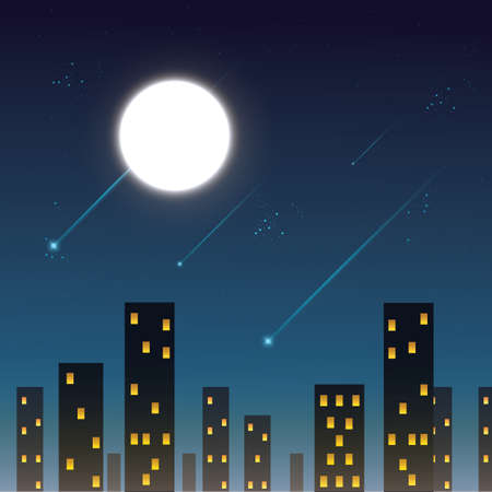 city view: night view of city with shooting stars